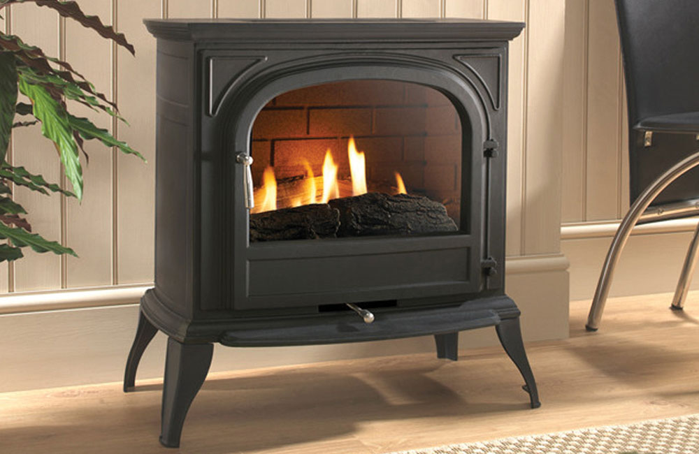 EKO 6010 Black Plain Glass Gas Stove