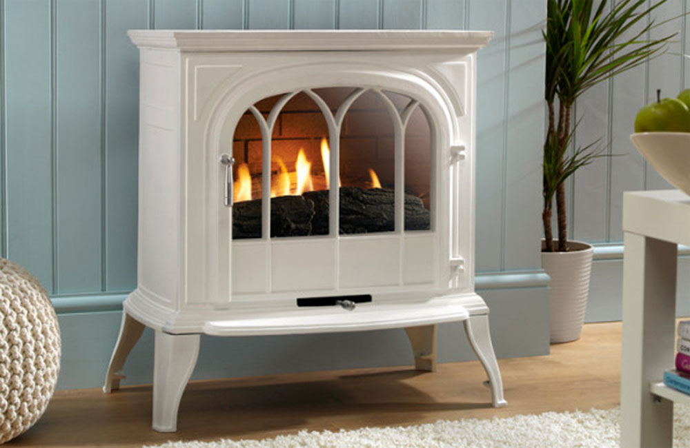EKO 6010 White Curved Glass Gas Stove